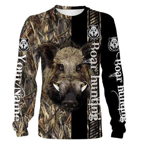 Boar hunting Custom Name 3D All over print Shirts - Personalized hunting gift - FSD191