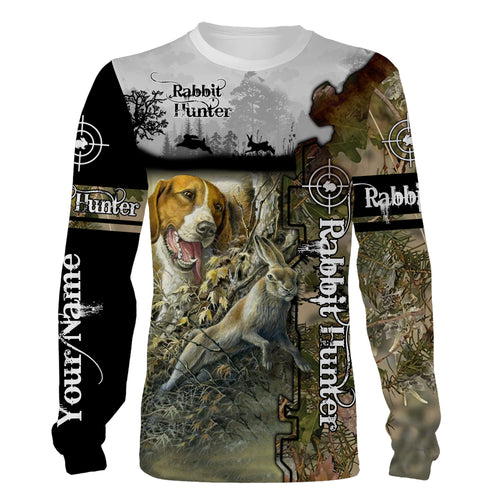 Rabbit hunter Beagle hunting dogs Customized Name 3D full printing Shirts, Hoodie - Best hunting gifts for Men Women - FSD1015