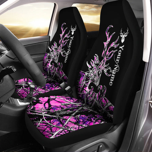 Elk tattoo Pink muddy camo Custom Name 3D All over print Seat Covers - Car Accessories Hunting gifts Set of 2 - FSD780