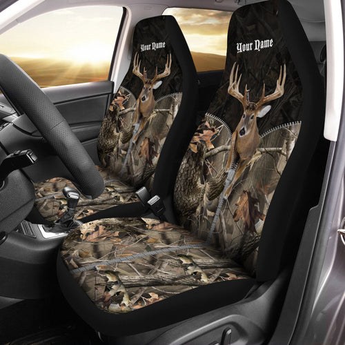 Whitetail deer hunting Jumping buck camo custom Name Full printing Seat Covers - Car Accessories Set of 2 - FSD784