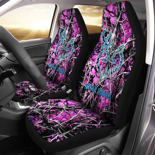 Country girl Deer hunting Pink muddy camo custom Name Seat Covers - Car Accessories Set of 2 - FSD789