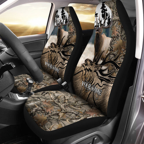 Elk Hunting Custom Name 3D All over print Seat Covers - Car Accessories Hunting gifts Set of 2 - FSD219