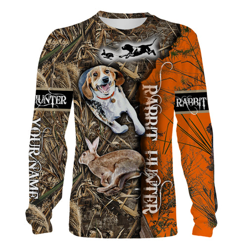 Rabbit hunting Camouflage orange camo Beagle hunting dog custom Name 3D printing Shirt, Hoodie Personalized gift for Rabbit hunter - FSD1032
