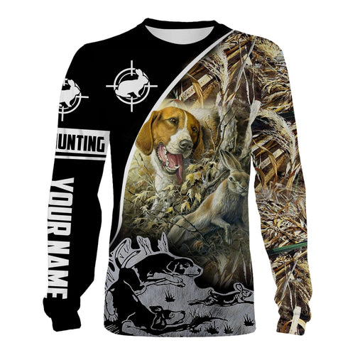 Rabbit hunting with Beagle custom name 3D All over print Shirts, face shield - Personalized hunting gifts - FSD370