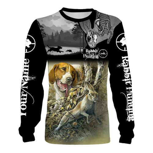 Rabbit hunting with beagles hunting dog custom Name 3D All over print T-shirt, Sweatshirt, Long sleeves, Hoodie, Zip up hoodie - Personalized hunting gift for hunter Men, Women and Kid - FSD545