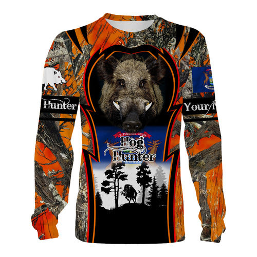 Michigan Hog hunting custom Name 3D All over print Sweatshirt, T-shirt, Long sleeves, Hoodie - Personalized hunting gift for Men, Women and Kid - FSD551