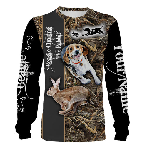 Rabbit hunting dogs Beagle chasing the Rabbit Camouflage custom Name 3D Full printing Shirt, Hoodie Personalized gifts for Rabbit hunter - FSD1044