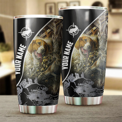1pc Rabbit hunting with Beagle custom name Stainless Steel Tumbler Cup - Personalized Hunting gifts - FSD1046