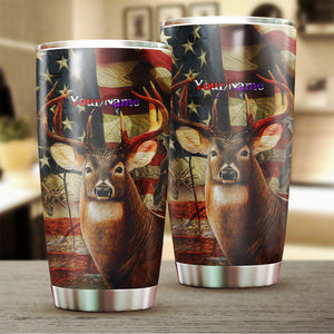 1pc Hunt hard American flag Custom name Stainless Steel Tumbler Cup - Personalized Hunting gifts for hunter - FSD578