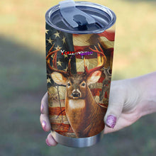 Load image into Gallery viewer, 1pc Hunt hard American flag Custom name Stainless Steel Tumbler Cup - Personalized Hunting gifts for hunter - FSD578