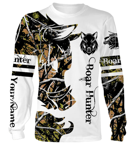 Boar Tattoo Camo Custom Name 3D All over print shirts - hunting gift for Men, Women and Kid - FSD107