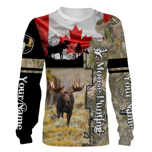 Canada Moose hunting Custom Name 3D All over print T-shirt, Sweatshirt, Long sleeves, Hoodie - Personalized hunting gift for Men, Women and Kid - FSD608