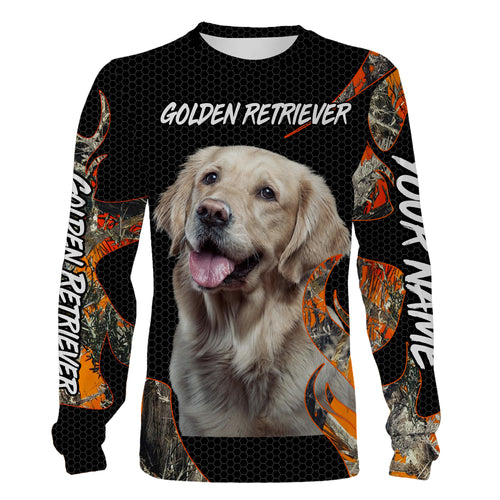 Golden Retriever dog orange camo All over printing Sweatshirt, Long sleeves, Hoodie Personalized gift for Retriever lovers FSD689