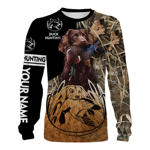 Duck hunt with Boykin Spaniel Custom Name 3D All over print Shirts, Face shield - personalized hunting gifts - FSD325