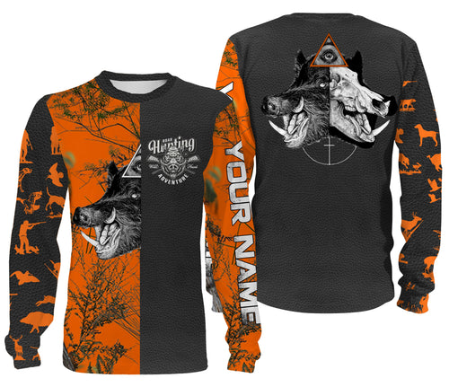Boar hunting Orange camo Custom Name 3D All over print Shirts, Face shield - Personalized hunting gifts for Men, Women and Kid - FSD331