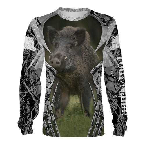 Feral hog hunting custom Name 3D All over print T-shirt, Hoodie, Sweatshirt, Long sleeves - Personalized shirt for hunters - FSD495