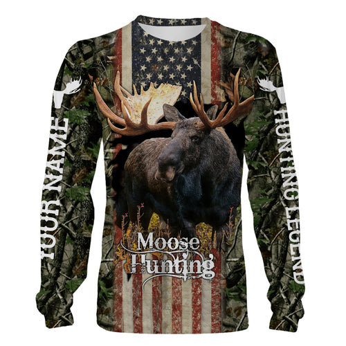 Moose hunting American flag Custom Name 3D All over print Shirt, Hoodie, Long sleeves, Sweatshirt - Personalized gift for Moose hunter Men, Women - FSD740