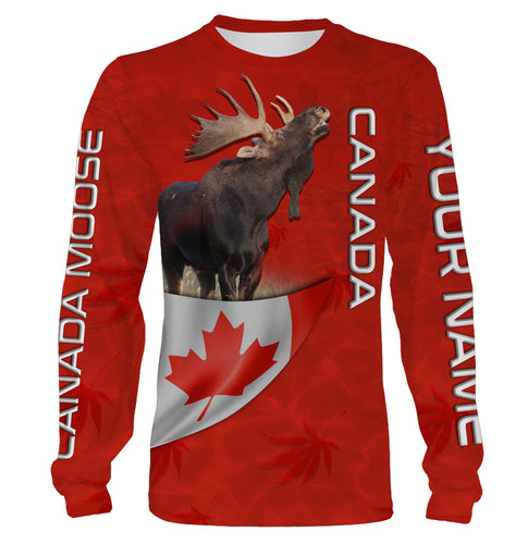 Canada Moose hunting CA flag Custom Name 3D All over print Shirt, hoodie, long sleeves, sweatshirt - Personalized shirt gift for hunter - FSD752