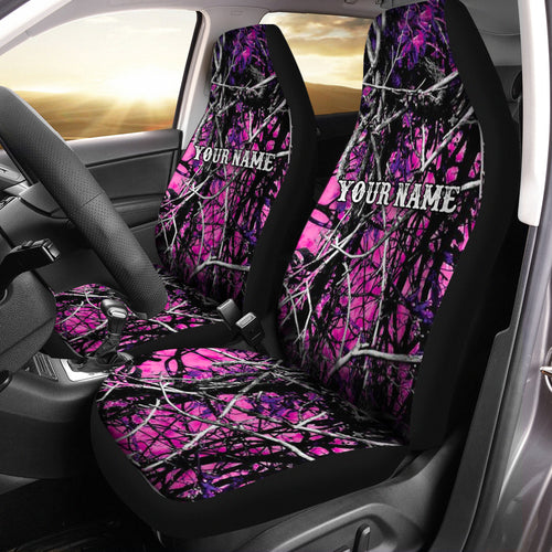 Personalized Pink muddy camo Full printing Seat Covers - Car Accessories country girl gifts Set of 2 - FSD782