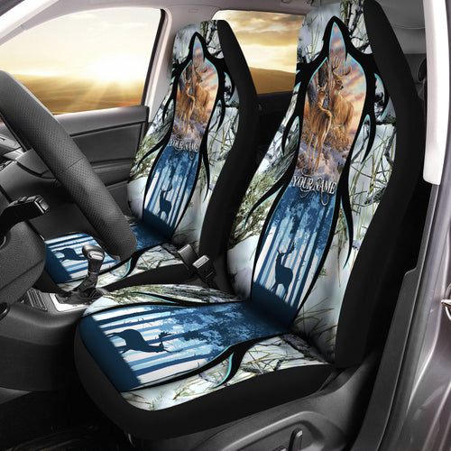 Beautiful Deer Hunting Custom Name 3D All over print Seat Covers - Car Accessories Hunting gifts Set of 2 - FSD218
