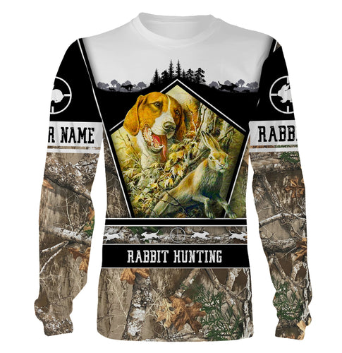 Rabbit hunting with beagles custom Name 3D All over print Sweatshirt, Hoodie, zip up hoodie, Long sleeves, T-shirt - Gift ideas for Rabbit hunter - FSD538