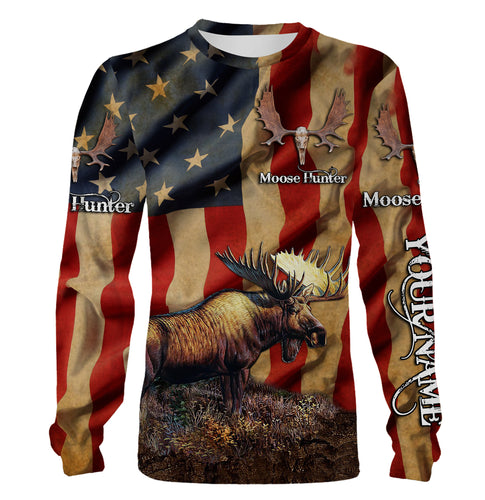 US Moose hunting shirt American flag camo Custom Name 3D All over printing hoodie, long sleeves, sweatshirt - Personalized hunting gift for Moose hunter - FSD806