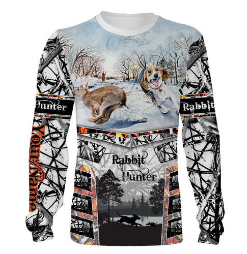 Rabbit hunting with Beagle custom name 3D All over print Shirts, face shield - Personalized hunting gifts - FSD369