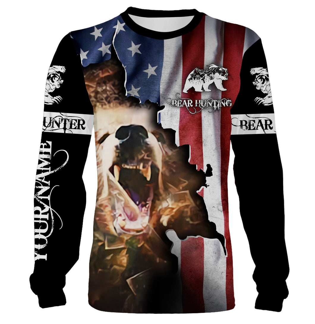 Bear hunting US flag custom Name 3D All over print Sweatshirt, T-shirt, Long sleeves, Hoodie - Personalized hunting shirt for Bear hunter gift for Men, Women and Kid - FSD556