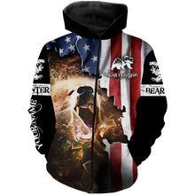 Load image into Gallery viewer, Bear hunting US flag custom Name 3D All over print Sweatshirt, T-shirt, Long sleeves, Hoodie - Personalized hunting shirt for Bear hunter gift for Men, Women and Kid - FSD556