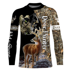 Grim reaper Deer Bow hunter Custom Name 3D All over print Shirts, Face shield - Personalized hunting gifts for Men, Women and Kid- FSD399