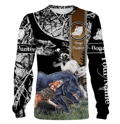 Wild Boar hunting with dogs custom name 3D All over print Shirt Personalized gifts for hunter, gift for Men, Women and Kid - FSD570