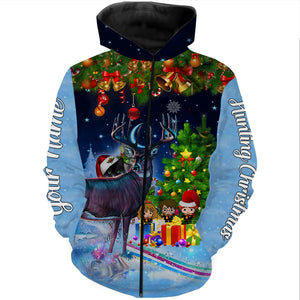 Deer hunting Christmas gifts for hunters Custom name 3D All over print Sweatshirt, T-shirt, Long sleeves, Hoodie - personalized hunting gifts for men, women and kid - FSD582