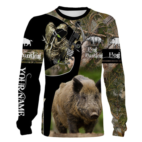 Hog hunting Custom Name 3D All over print Shirts, Face shield - personalized hunting gifts - FSD255
