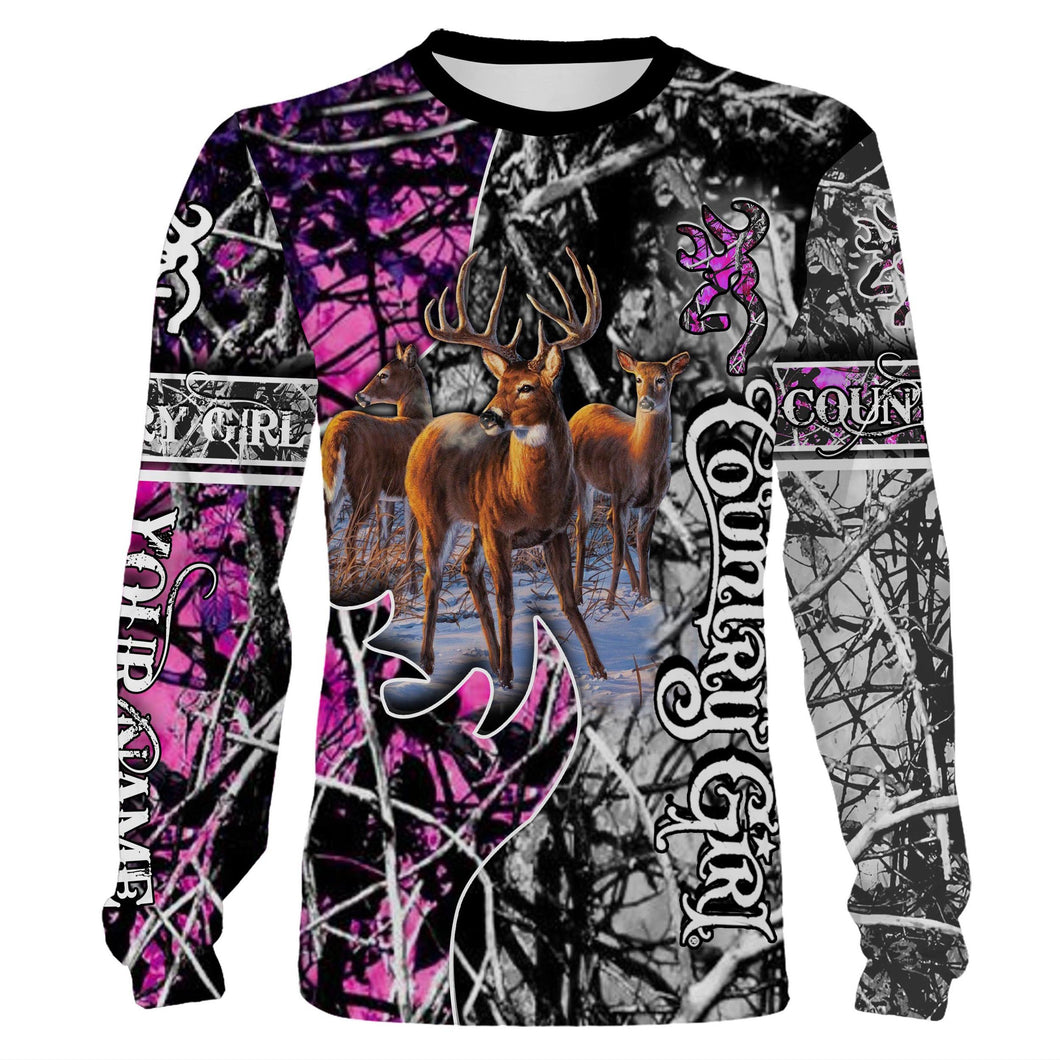 Hunting Ladies custom Name 3D All over print T-shirt, Long sleeves, Hoodie, Sweatshirt, Face shield - Personalized hunting gifts - FSD406