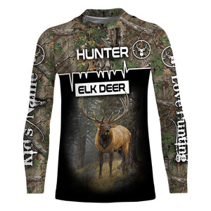 Deer Elk Big-game hunter custom Name 3D All over print Sweatshirt, T-shirt, Long sleeves, Hoodie - Personalized hunting gifts for Men, Women and Kid - FSD596