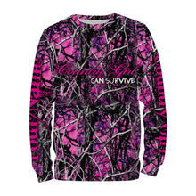 Load image into Gallery viewer, Country girl Pink muddy camo Country girl can survive Custom Name 3D All over print T-shirt, Sweatshirt, Long sleeves, Hoodie - Personalized gift for Women - FSD602