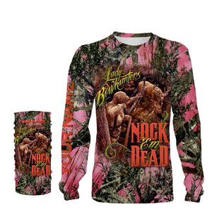 Country girl Lady bowhunter Nock Em Dead Pink true timber camo Custom Name 3D All over print T-shirt, Sweatshirt, Long sleeves, Hoodie - Country girl clothing, gift for Women - FSD607