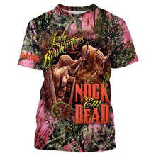 Load image into Gallery viewer, Country girl Lady bowhunter Nock Em Dead Pink true timber camo Custom Name 3D All over print T-shirt, Sweatshirt, Long sleeves, Hoodie - Country girl clothing, gift for Women - FSD607