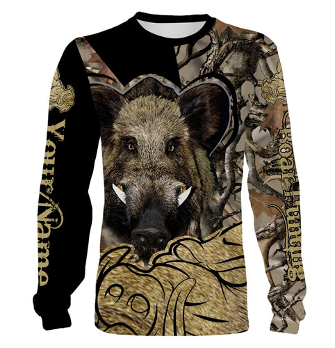 Boar hunting Custom Name 3D All over print Shirts, Face shield - personalized hunting gifts - FSD270