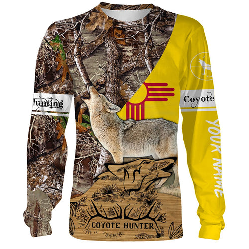 Coyote hunting New Mexico Flag Custom Name 3D All over print Shirts - Personalized hunting gift for Men, Women and Kid - FSD128