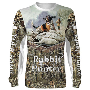 Rabbit hunting Custom Name 3D All over print Shirts, Face shield - personalized hunting gifts - FSD281