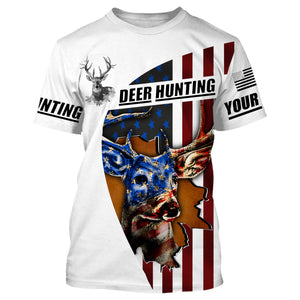 American Deer hunting custom name 3D printing Sweatshirt, Long sleeves, Hoodie, Zip up hoodie - Personalized hunting gift for Men, Women and Kid - FSD636