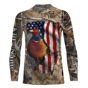 Pheasant hunting American Flag camo Custom Name 3D All over print Shirts, Face shield - personalized hunting gifts - FSD304