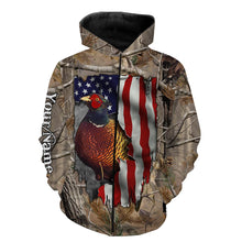 Load image into Gallery viewer, Pheasant hunting American Flag camo Custom Name 3D All over print Shirts, Face shield - personalized hunting gifts - FSD304