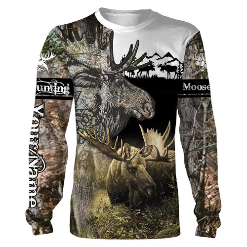 Moose hunting Custom Name 3D All over print Shirts - Personalized hunting gift -  FSD180