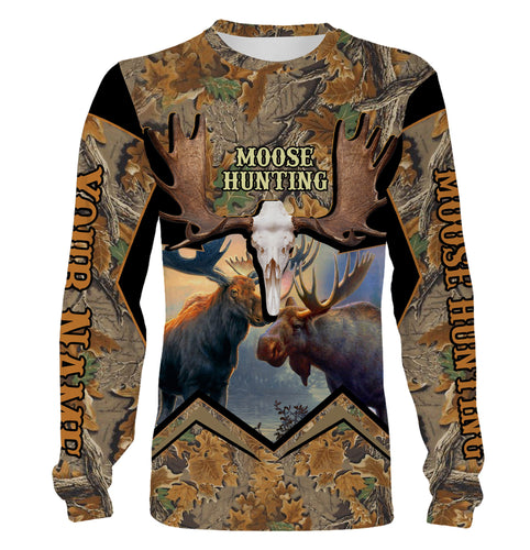 Beautiful Moose hunting Custom Name 3D All over print Shirts, Face shield - Personalized hunting gifts - FSD339