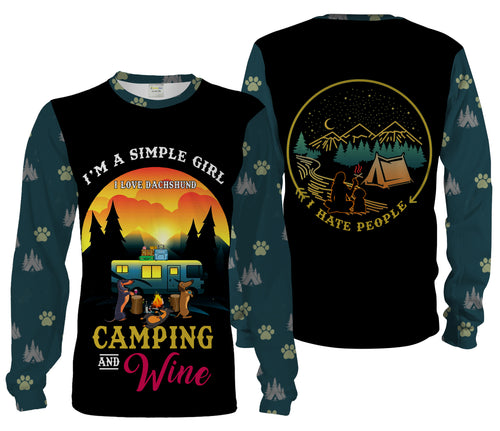 Camping Girl 3D Shirt, Simple Girl Love Dachshund, Camping And Wine Shirt 3D All Over Print Chipteeamz - TNN316