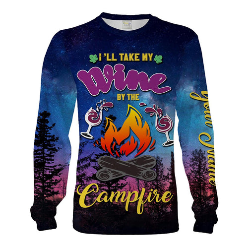Wine And Campfire Personalized Camping Shirt 3D Full Printing T-Shirt, Long Sleeves, Sweatshirt, Hoodie, Tank Top, Face Shield Chipteeamz - TNN262