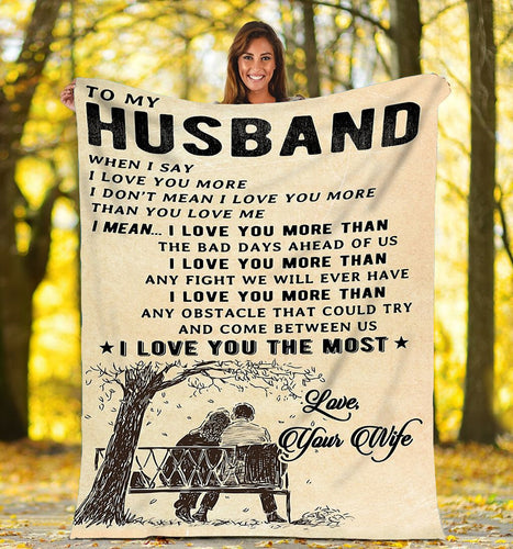 To my Husband Soft Fleece Throw Blanket romance love Valentine's day gift - IPH746
