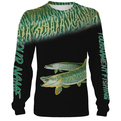 Musky Tournament fishing Customize name All over print shirts personalized fishing gift Black version  - IPH957